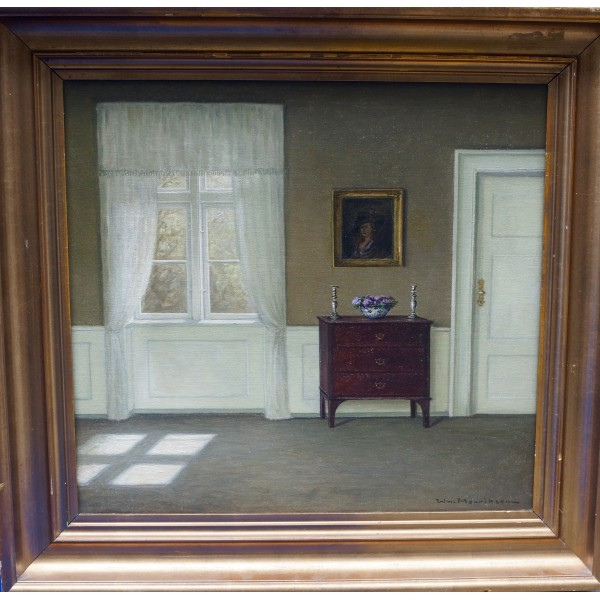 Danish Indoor Scene Signed Wilhelm Henriksen