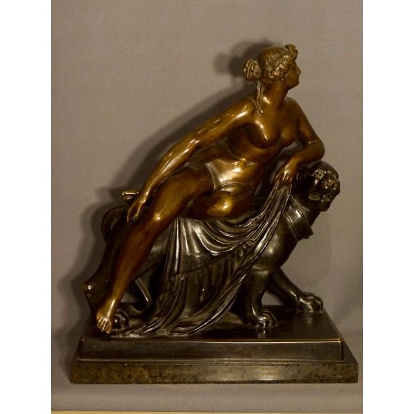 Bronze Ariane Chevauchant Une Panthère D'Après Dannecker